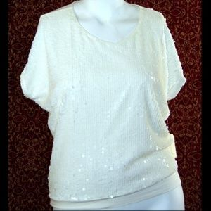 NEW COLDWATER CREEK Ivory batwing blouse S 8